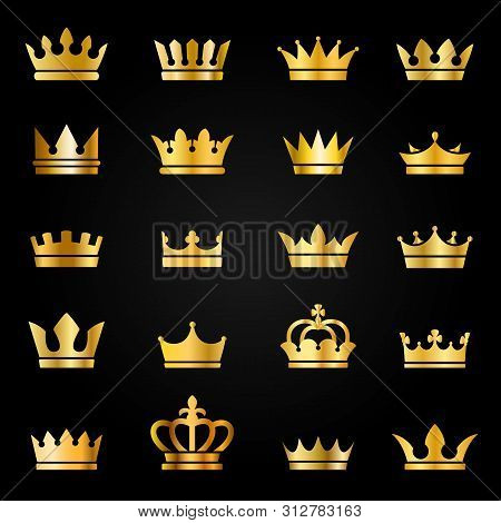 Gold Crown Icons. Queen King Golden Crowns Luxury Royal On Blackboard, Crowning Tiara Heraldic Winne