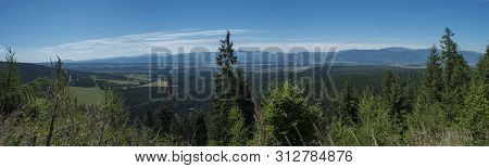 View From Tatra Mountain Trail On Baranec To Valley With Low Tatra And Blue Misty Slopes Of Hills In