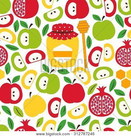 Cute Seamless Pattern Background With Symbols Of Jewish New Year Holiday Rosh Hashana, Shana Tova