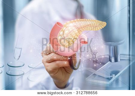 Doctor Diagnose Pancreas Of The Patient On The Blurred Background.
