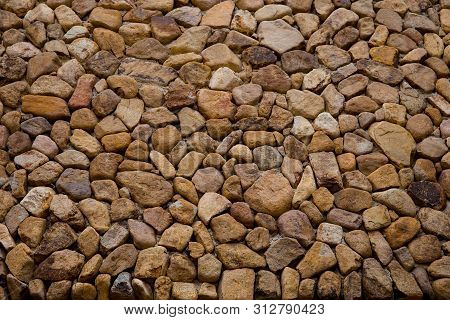 Brown Stone Grit Scree, Stone Floor Grit Scree For Background, Floor Surface Rock Materials Scree Te