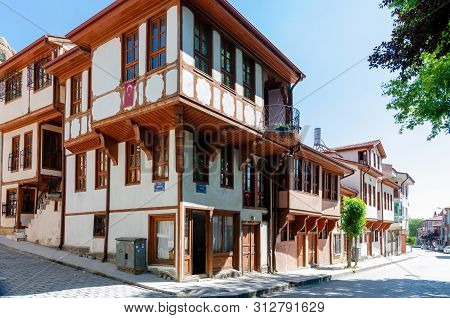 Afyonkarahisar ,turkey-may 14,2018: Beautiful Old Street In Downtown With Houses With Wooden Shutter