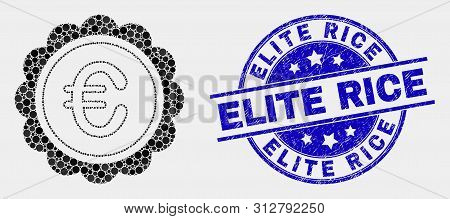 Pixelated Euro Award Mosaic Pictogram And Elite Rice Seal Stamp. Blue Vector Rounded Grunge Seal Sta