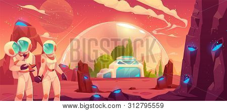 Astronauts Family On Red Planet Surface Background, Father Mother And Child In Space Suits Stand At