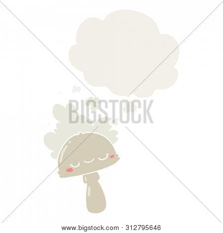 cartoon mushroom with spoor cloud with thought bubble in retro style