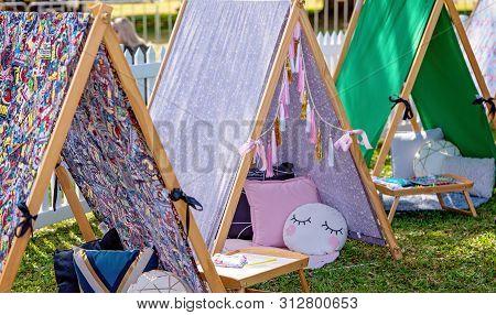 Mackay, Queensland, Australia - 20th July 2019: Street Market Stall Hiring Fun Child Teepee Tents Fo