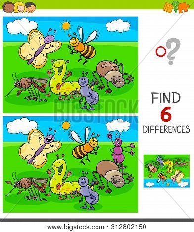 Cartoon Illustration Of Finding Six Differences Between Pictures Educational Game For Children With