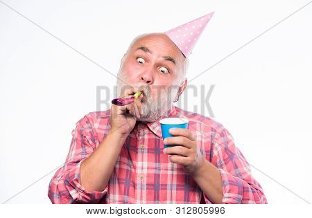 Man Hold Party Cone Hat And Whistle. Anniversary Holiday Celebration. Happy Birthday. Corporate Part