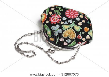 Floral Design Hand Bag Lying on White Background