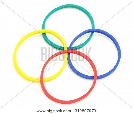 Colourful Rubbur Bands Arranged on White Background