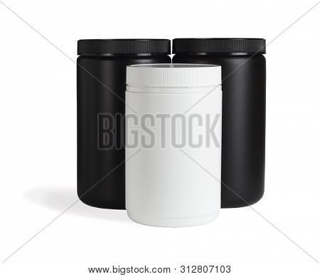 Three Cylindrical Shape Plastic Containers on White Background
