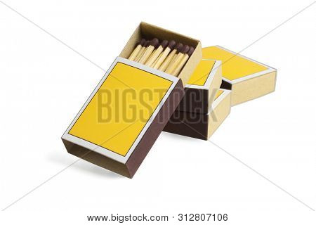 Four Yellow Match Boxes on White Background