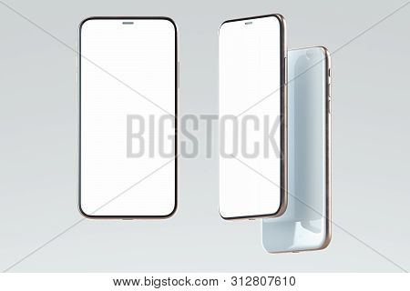 White Mobile Phones With Blank Screens Isolated On White Background. 3d Rendering.