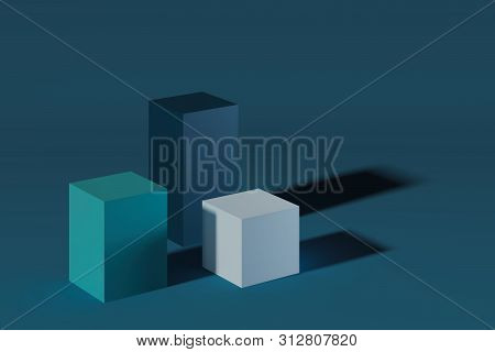 Modern Showcases With Empty Space On Pedestal On Green Background. 3d Rendering.
