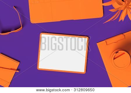 Orange Tablet With White Blank Screen Isolated On Orange And Blue Background. 3d Rendering.