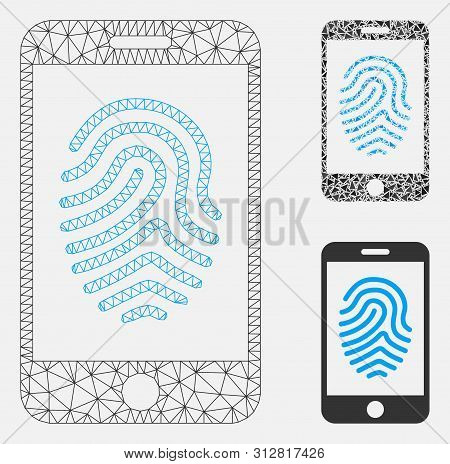 Mesh Mobile Fingerprint Authorization Model With Triangle Mosaic Icon. Wire Frame Triangular Mesh Of