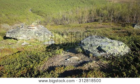 Boulders At Slope Of Nuolja In Northern Sweden.