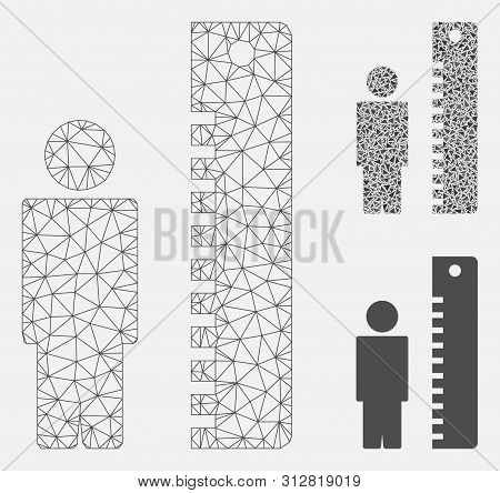 Mesh Man Height Model With Triangle Mosaic Icon. Wire Carcass Polygonal Mesh Of Man Height. Vector M