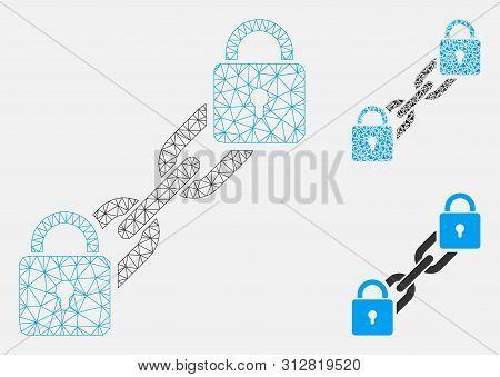 Mesh Lock Blockchain Model With Triangle Mosaic Icon. Wire Carcass Polygonal Mesh Of Lock Blockchain