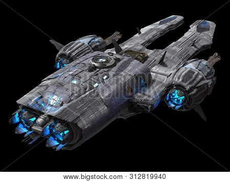 Spaceship Isolated On A Black Background 3d Illustration
