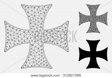 Mesh Maltese Cross Model With Triangle Mosaic Icon. Wire Frame Triangular Mesh Of Maltese Cross. Vec