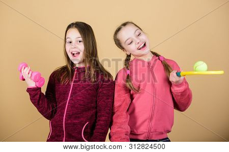Ways To Help Kids Find Sport They Enjoy. Friends Ready For Training. Girls Cute Kids With Sport Equi