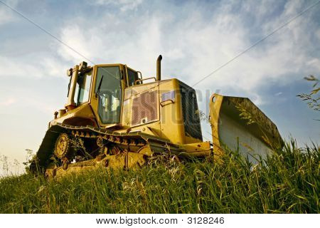 Bulldozer Parked By The Road