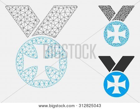 Mesh Maltese Medal Model With Triangle Mosaic Icon. Wire Frame Triangular Mesh Of Maltese Medal. Vec