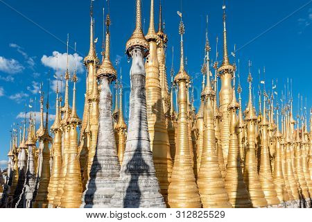 Horizontal Picture Of Impressive Golden Stupas At Indein Temple, Landmark Of Inle Lake, Myanmar