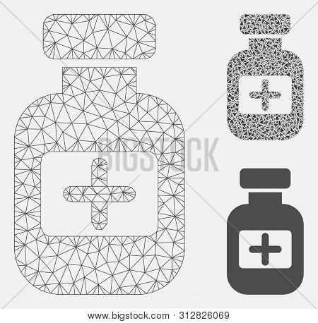 Mesh Medication Phial Model With Triangle Mosaic Icon. Wire Carcass Polygonal Mesh Of Medication Phi