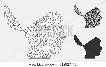 Mesh Open Mind Model With Triangle Mosaic Icon. Wire Carcass Polygonal Network Of Open Mind. Vector