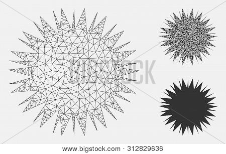 Mesh Microbe Spore Model With Triangle Mosaic Icon. Wire Frame Polygonal Mesh Of Microbe Spore. Vect