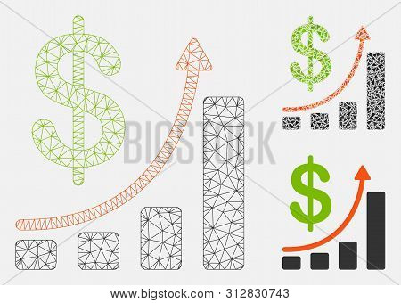 Mesh Sales Chart Model With Triangle Mosaic Icon. Wire Frame Triangular Mesh Of Sales Chart. Vector