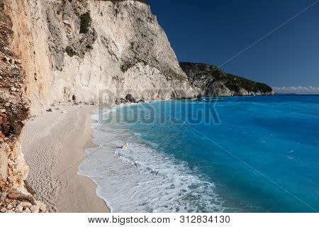 Porto Katsiki beach coast on Lefkada island, Greece.