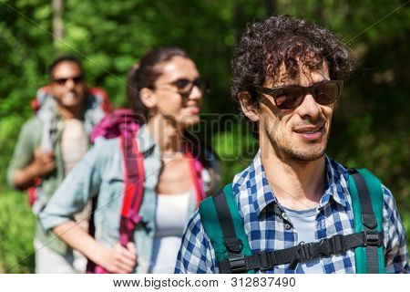 travel, tourism, hike and people concept - group of friends walking with backpacks in forest