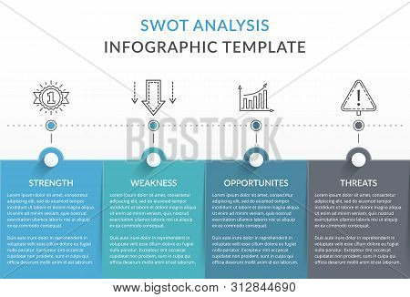 Swot Analysis Diagram, Infographic Template With Four Elements, Vector Eps10 Illustration