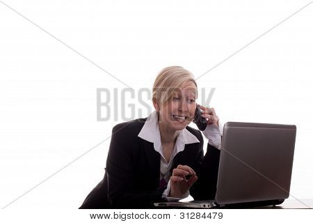 Secretary With Phone And Laptop