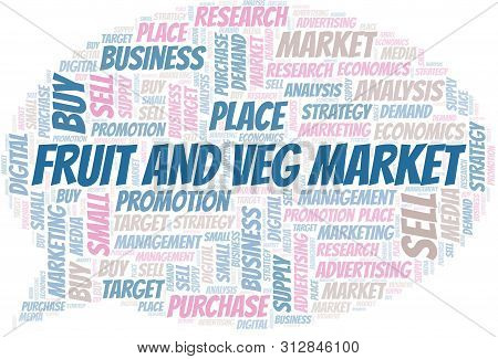 Fruit And Veg Market Word Cloud. Vector Made With Text Only