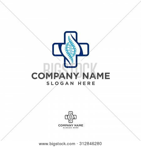 Vector Logo Template. Human Spine With Helix Isolated Silhouette Illustration. Spine Pain Medical Ce