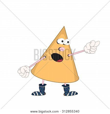 Funny Cartoon Yellow Cone With Eyes, Arms And Legs In Multi-colored Socks, Swears And Shows An Indec