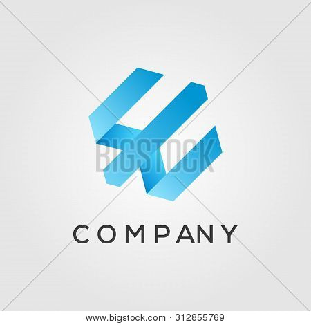 Letter E , W , M On Hexagon Logo Designs