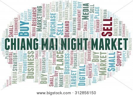 Chiang Mai Night Market Word Cloud. Vector Made With Text Only