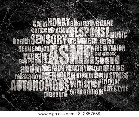 Acronym ASMR - Autonomous Sensory Meridian Response. Health care conceptual image. Words cloud poster
