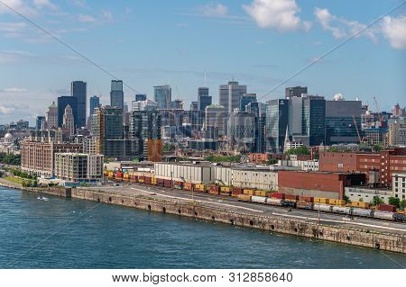 Montreal, Ca - 21 July 2019. View Of Montreal Skyline From Jacques Cartier Bridge