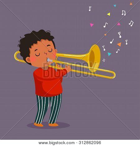 Cute Boy Playing The Trombone On Purple Background