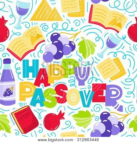 Happy Passover Seamless Pattern Jewish Holiday Pesach. Colorful Vector Illustration Doodle Style. Is