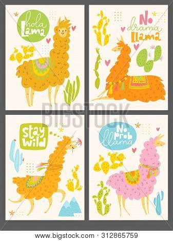 Set Of Four Motivational Cards With Lama