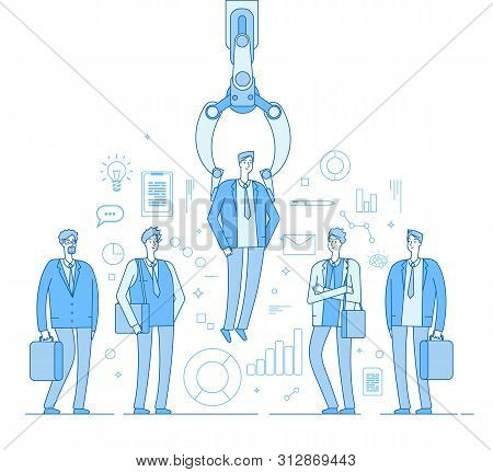 Robot Recruiter. Industrial Claw Choosing Man From People Selected Group. Recruitment Human Employme