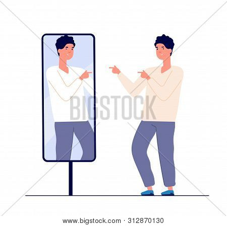 Man At Mirror. Guy Self Looking Reflection, Love Of Self. Narcissism And Vanity. Egotism Mirrored Ve