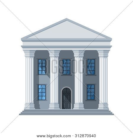Vector Flat Public Building Icon. Administrative City Building Isolated On White Background. Illustr